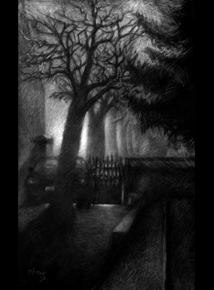 Cour de maison dans le clair-obscur de la nuit